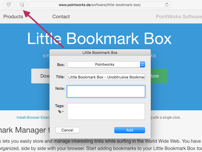 Safari Extension for Little Bookmark Box Image